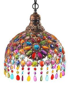 Hanglamp Glass, multicolour, H 40 cm Boho Lighting, Chandelier Lighting, Chandeliers, Gypsy Decor, Bohemian Decor, Moroccan Decor, Home Living, Lamp Design, Lampshades