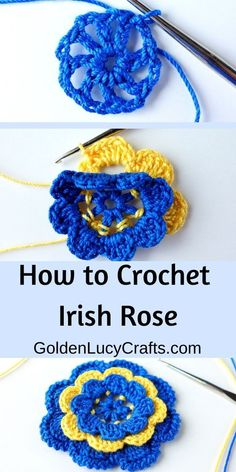 Crochet Irish rose - step by step photo tutorial. Free crochet pattern, Irish crochet, Irish lace motif, flower applique, This crochet Irish Rose is a popular motif used in Irish Lace. You can use it as an appliqué and embellish anything you would like! Crochet Butterfly Free Pattern, Crochet Leaf Patterns, Crochet Flower Tutorial, Crochet Motifs, Doilies Crochet, Crochet Appliques, Crocheting Patterns, Doily Patterns, Dress Patterns