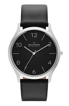 'Jorn' Leather Strap Watch, 41mm