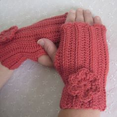 Coral Pink Crochet Fingerless Gloves  by ColorMyWorldCrochet