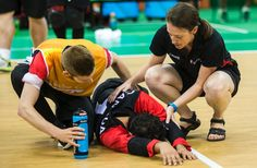 Bruno Haché is consoled after Canada's double-overtime loss to Lithuania in the goalball quarter-finals. - Bruno Hache Goalball Gallery Wednesday