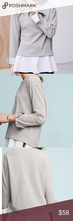"""Eri + Ali Layered Poplin Sweatshirt Super soft cotton sweatshirt that is ideal for a casual day. Daytime Television favorite {spotted on The Young + The Restless!} Very chic taupe color that compliments the faux white hem and sleeves. Pullover styling. Bust {up to 40"""".} Length {31"""".} Relaxed fit. Offers welcome! Item looks exactly as pictured. Taupe is like a soft gray color. Anthropologie Tops Sweatshirts & Hoodies"""