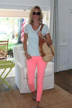 coral crop jeans with aqua shirt, bracelet, flip flops, fashion, style  via Google images