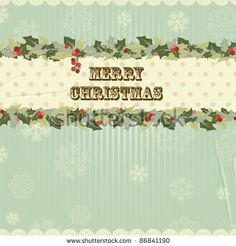stock vector : Vintage Christmas card with holly berry