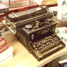 Old typewriter used as a display at the bookstore. Shot with iPhone.