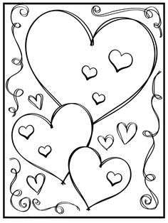 Валентинов день - детские раскраски Doodle Borders, Doodle Patterns, Heart Coloring Pages, Coloring Books, Colouring, Diy Busy Books, Lilies Drawing, Mexican Wall Art, Graffiti Piece