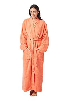 High Style Men Women 100% Turkish Cotton Full Length Kimono Bathrobe (Salmon, 006, L). 100% Pure Terry Turkish Cotton. 13 ounce/yard sq. Full Ankle Length. Available in 4 sizes (Small - Xlarge). Sleeve Length : Adjustable with turn back cuffs. Fits both Men and Women. See product description for accurate sizing information.