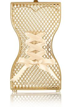 Charlotte Olympia Tight Laced ribbon-embellished gold-tone clutch   NET-A-PORTER