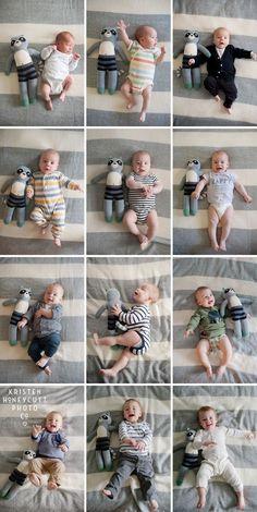 Fotos do desenvolvimento do bebê - JColoque sempre o mesmo bicho de pelúcia e o bebê vestindo a roupa que mais utilizava em cada fase.