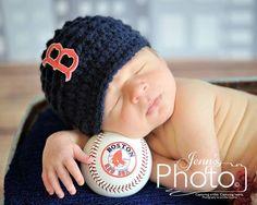 Ready to Ship,Newborn Photo Prop,Photography Prop,Boston Red Sox,Boston Red Sox Hat,Brim Hat,Newsboy Hat,Baby,Newborn,Boy Hat,Baseball Hat