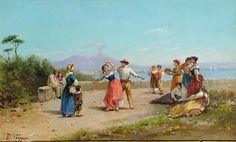 Vincenzo Ciappa (1766-1826)   Danzatori di tarantella con veduta del golfo di Napoli