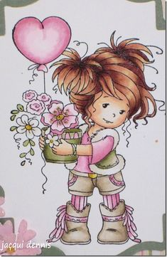 Skin: Hair: 50 and dark umber pencil Top, tights and flowers: 0000 and rose pale pencil Shorts: 0000 and muted turquoise pencil Boots and jacket: 40 and warm grey pencil Plant pot: 13 and sepia pencil Grass and leaved: 85 and olive green pencil Copic Marker Art, Copic Art, Copic Markers, Whimsy Stamps, Digi Stamps, Sweet Pictures, Pencil Plant, Colouring Techniques, Copics