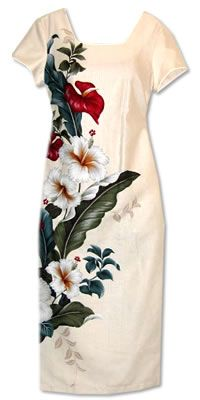 sweetheart cream hawaiian formal dress