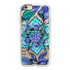 Blue turquoise hand drawn floral mandala illustration by Girly Trend -... ($40) ❤ liked on Polyvore featuring accessories, tech accessories, iphone case, iphone cover case, apple iphone case, floral iphone case, iphone cases and blue iphone case