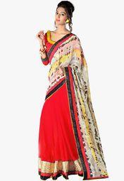Admyrin Beige Embellished Saree Online Shopping Store
