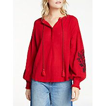 Buy AND/OR Embroidered Sleeve Blouse, Red Online at johnlewis.com