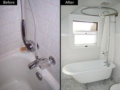 This is how we could fit a full bathtub in our upstairs bathroom, keeping the window.