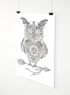 Solar Owl adult coloring page by ZuskaArt on Etsy Beautiful Drawings, Adult Coloring Pages, Solar, How To Draw Hands, Owl, Creatures, Prints, Etsy, Nice Designs