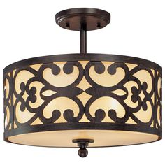 front door entrance way.  Minka Lavery 3-Light Iron Oxide Semi-Flush Mount-1498-357 at The Home Depot