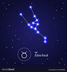 Taurus Zodiac Sign Stars on the Cosmic Sky vector image on VectorStock Zodiac Constellations, Taurus, Astronomy, Cosmic, Zodiac Signs, Vector Free, Digital, Illustration, Painting