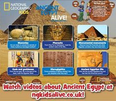 National Geographic Kids Ten Facts about Ancient Egypt video steps back in time to show how King Tuts pyramid was constructed Facts About Ancient Egypt, Ancient Egypt Lessons, Ancient Egypt Activities, Ancient Egypt For Kids, Ancient History, Ancient Egypt Games, Ancient Egypt Pyramids, Cairo Egypt, European History