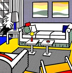 Interior with Restful Paintings by Roy Lichtenstein (ca. 1991)