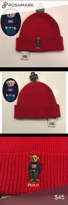 RARE❗️Red Ralph Lauren Polo Bear USA Flag Beanie A bear trimmed in red, white, and blue adds a fun look to the cozy comfort of this hat from Polo Ralph Lauren!   100% AUTHENTIC PURCHASED DIRECTLY FROM STORE Has all original tags!  -One Size -Cotton/Nylon/Merino wool -Dry Clean  CHECK MY PAGE FOR OTHER POLO BEAR/Vintage products!   FAST SHIPPING ON ALL ORDERS! Polo by Ralph Lauren Accessories Hats
