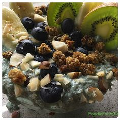 PLANT PROTEIN POWER  Blue-Green Algae Chia Bowl topped with Bananas, Kiwi, Blueberries, Mulberries & chopped Brazil Nuts. Yummy!