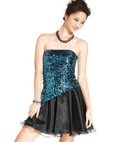Jump Juniors Dress, Strapless Sequin Tulle ($79.99)