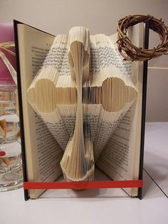 Cross, folded book art, book folding patterns, christening gift, wedding gift, holy communion, book folding, book folding art, instructions