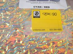 "Dichroic Glass:CBS 90 COE Cyan/ Red on Rippled Textured Clear - 3""Sq #CBS"