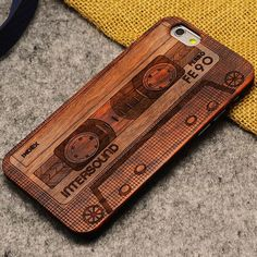 Handmade Carving Audiotape Wood Case For Iphone 5/5S/6/6Plus