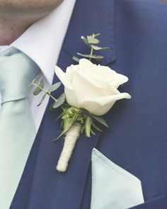 Simple but stunning White Rose & Eucalyptus buttonhole www.weddingandevents.co.uk North Yorkshire Wedding Flowers