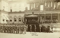 August 8, 1885: An estimated one million people watched the funeral procession of former president Ulysses S. Grant over its six-mile course starting from City Hall, where his body lay in state, to a temporary tomb in Riverside Park.  Pach Brothers, The Catafalque, with General Grant's Remains, Leaving City Hall, New York, August 8, 1885.