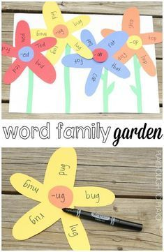 What a fun literacy center craftivity or word work station for kindergarten or first grade. Perfect for a spring unit! # word family activities Word Family Garden - Playdough To Plato Learning Phonics, Kindergarten Reading Activities, Kindergarten Units, Art Therapy Activities, Summer Activities, Therapy Ideas, Family Activities, Word Work Stations, Plants