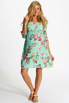 Mint-Green-Floral-Chiffon-Maternity-Dress