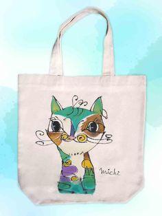 宇宙ねこ-エコバッグ-中尾道也 My Works, Reusable Tote Bags, Cats, Products, Gatos, Cat, Kitty, Gadget, Kitty Cats