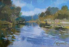 River. Original p... by Sergey  Kachin #acrylic #painting #art