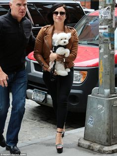 Demi Lovato looks sleek in leather jacket as she carries beloved pooch Buddy | Daily Mail Online