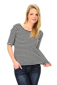 American Vintage - T-Shirts - Abbigliamento - T-Shirt in lino e cotone con collo rotondo e taglio asimmetrico sul fondo. - NACRE RAYE - € 50.00