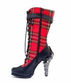 Women's Hades Corinne Custom Plaid Print Calf High Boots with Spinal Heels  #Hades #MidCalfBoots #Clubwear