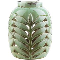 Surya Fern Ceramic Lantern ($33) ❤ liked on Polyvore featuring home, home decor, candles & candleholders, ceramic lanterns, outside lanterns, outdoor home decor, inspirational home decor and outside home decor