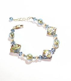 Murano Glass Blue Green Diamond  Gold Bracelet by JKCJewels