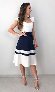 Modelos de Vestidos: Descubra o modelo ideal para o seu corpo! Cute Dresses, Beautiful Dresses, Casual Dresses, Short Dresses, Summer Dresses, 80s Fashion, High Fashion, Fashion Dresses, Womens Fashion