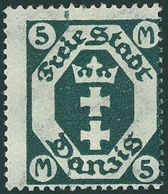 """Danzig, Michel 124Z - 5 Mk. blackish opal green with scarce watermark """"flag"""", fresh colors and very well perforated, in perfect condition mint never hinged in positive perfect condition, an extremely scarce issue, the in almost all collections is absent! Certificate with photograph """"the condition is perfect perfect"""" Dr. Oechsner BPP. German Stamps, Rare Stamps, Danzig, Picture Postcards, Wwi, Postage Stamps, Poland, Ephemera, Germany"""
