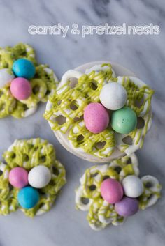 Easter desserts don't get much more delicious than this recipe for Candy Coated Pretzel Nests! Using pastel chocolate eggs and vibrant colored candy melts, this sweet spring treat is easy to whip up. Candy Recipes, Snack Recipes, Strawberry Yogurt Cake, Yogurt Covered Pretzels, Spring Treats, Easter Treats, Easter Desserts, Easter Food, Easter Recipes
