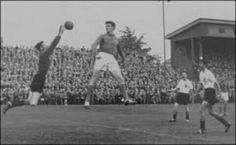 France 2 Scotland 1 in 1958 in Orebro. Bill Brown saves a point blank header from Just Fontaine in Group 2 at the World Cup Finals.