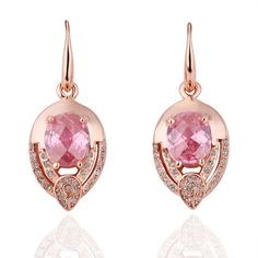 Swarovski Crystals Goldtone and Pink Diamond Earrings