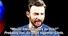 Sweetheart. Inspires himself by asking what Steve Rogers would do.