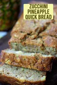 Zucchini Pineapple Bread - this quick bread is so moist and super simple to make. Zucchini P Zucchini Pineapple Bread, Zucchini Bread Recipes, Quick Bread Recipes, Bread Machine Recipes, Cooking Recipes, Healthy Zucchini Bread, Breaded Zucchini, Zucchini Bread Muffins, Zucchini Desserts